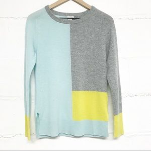 Halogen 100% Cashmere Color Block Sweater | xs
